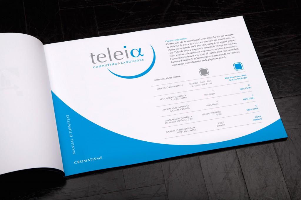 Veta Visual, pàgines interiors del manual identitat corporativa de Teleia Computing & Languages