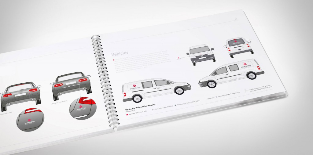 Veta Visual, pàgines interiors de manual d'identitat corporativa. Aplicació de la marca en vehicles