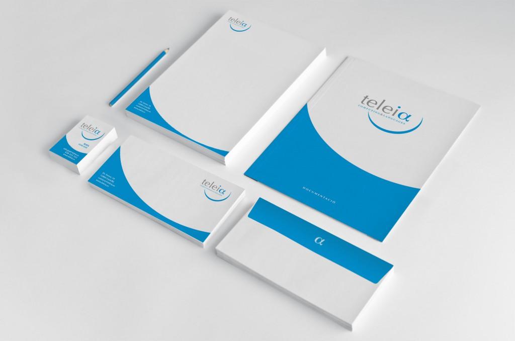 Veta Visual, aplicacions de papereria de la marca Teleia